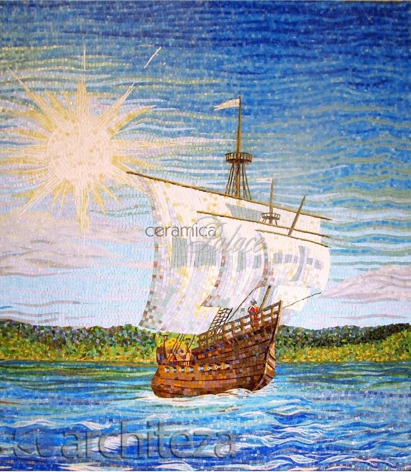 мозаичное панно лодки